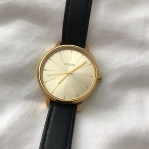 Nixon Kensington Gold Face Watch with Leather Band
